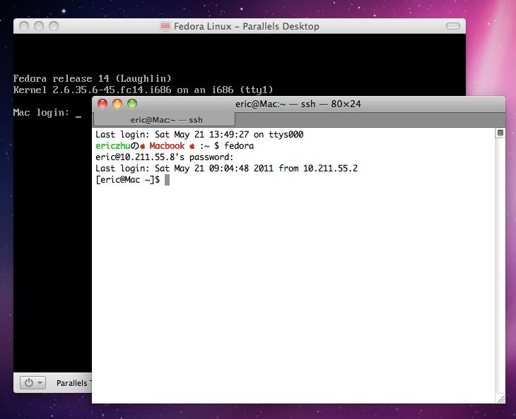 从Mac终端登入Fedora虚拟机