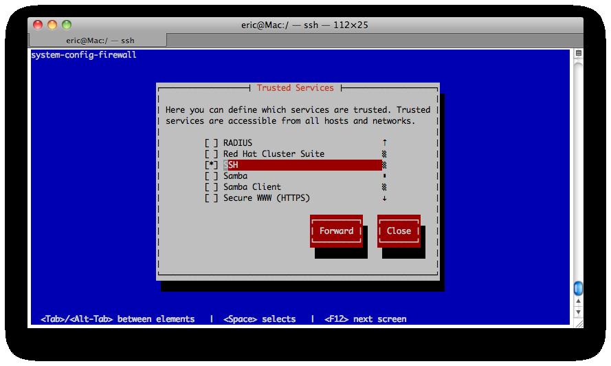 配置防火墙的图形界面system-config-firewall