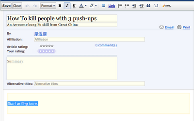 Google Knol的编辑界面很简陋,和Google一贯的设计风格也很不符.